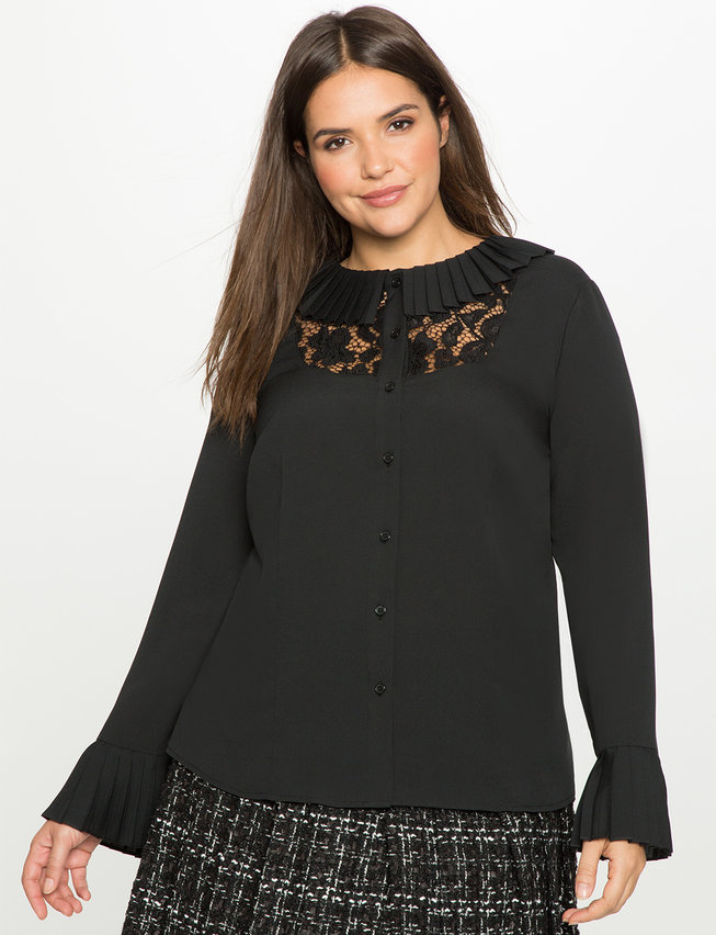Studio Pleated Button Down with Lace Bib