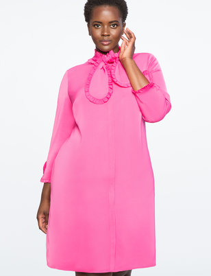 Shirt Dress with Ruffled Tie Neck Detail