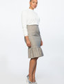 Plaid Column Skirt With Flounce Tan Plaid