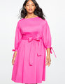 Puff Sleeve Fit and Flare Dress FROSTING PINK