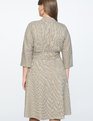 Belted Dolman Sleeve Dress Tan + Brown Check