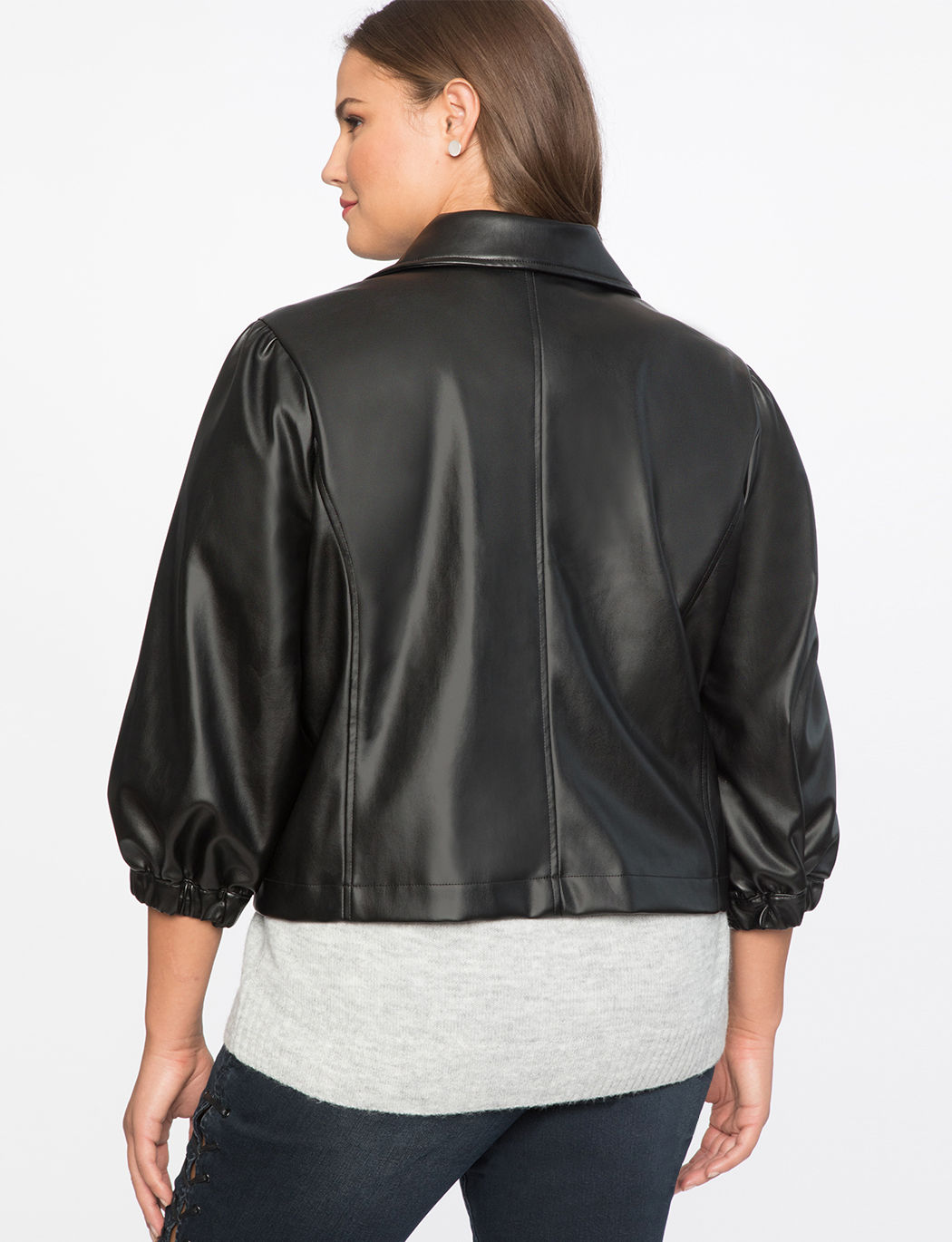 Puff Sleeve Faux Leather Moto