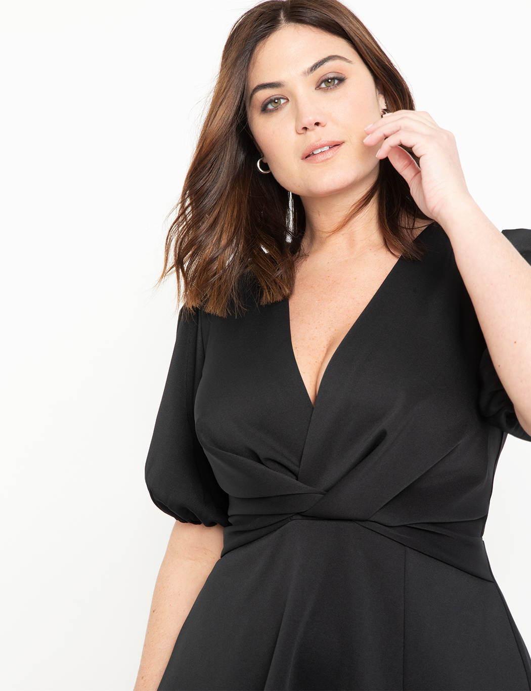 Puff Sleeve Fit and Flare Dress