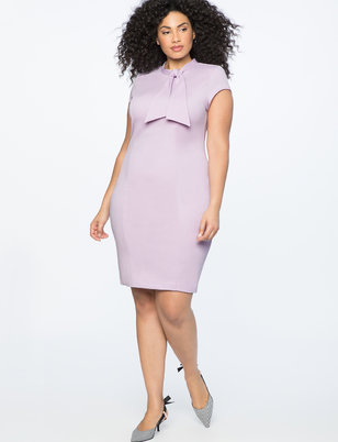 Cap Sleeve Sheath Dress with Tie Detail