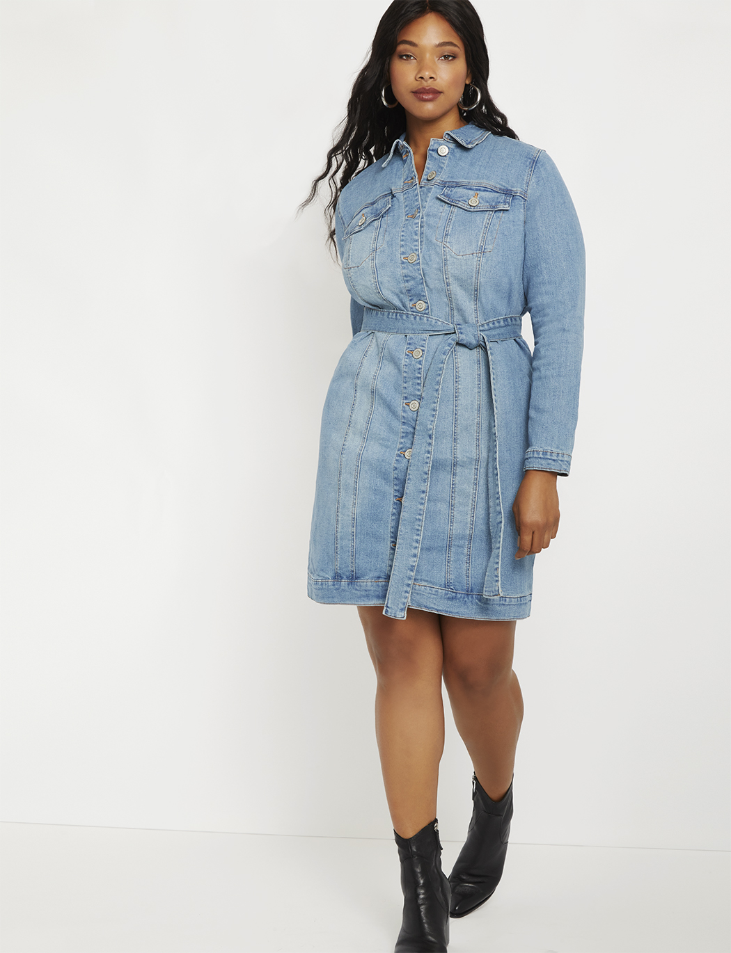 Denim Jacket Dress | Women\'s Plus Size Dresses | ELOQUII