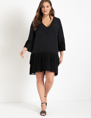 Pleated Ruffle Dress