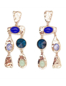 Multicolor Textured Earrings Gold + Blue Tones