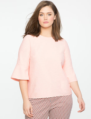 Textured Flare Sleeve Top