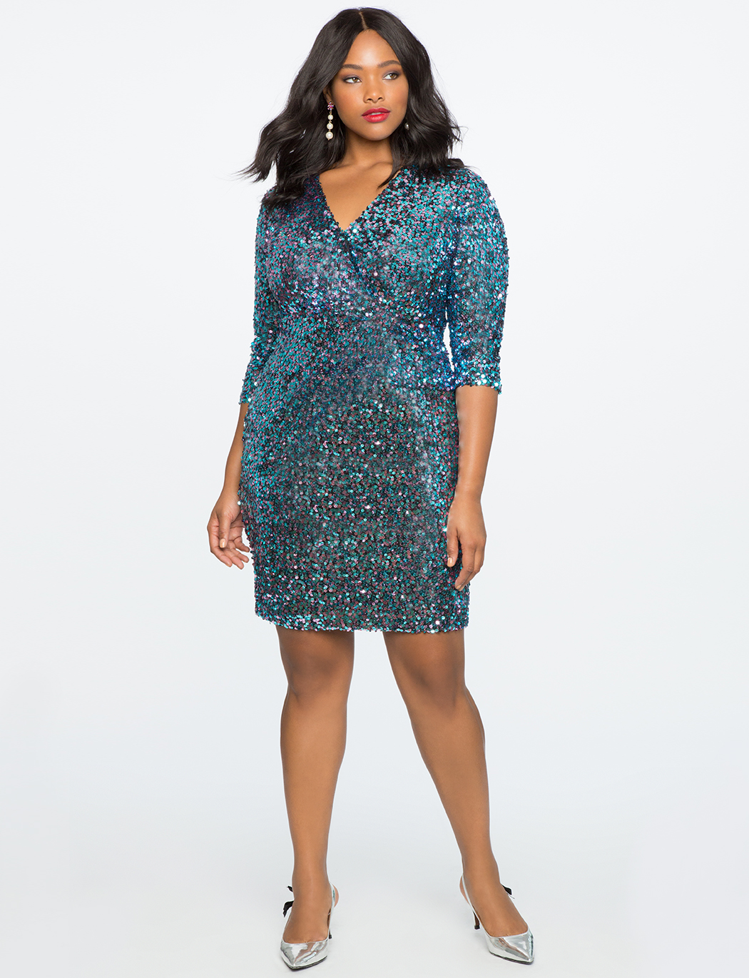 V-Neck Sequin Sheath Dress
