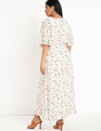 Flutter Sleeve Maxi Dress with Slits Morning Glory