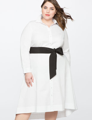 High Low Shirt Dress with Contrast belt