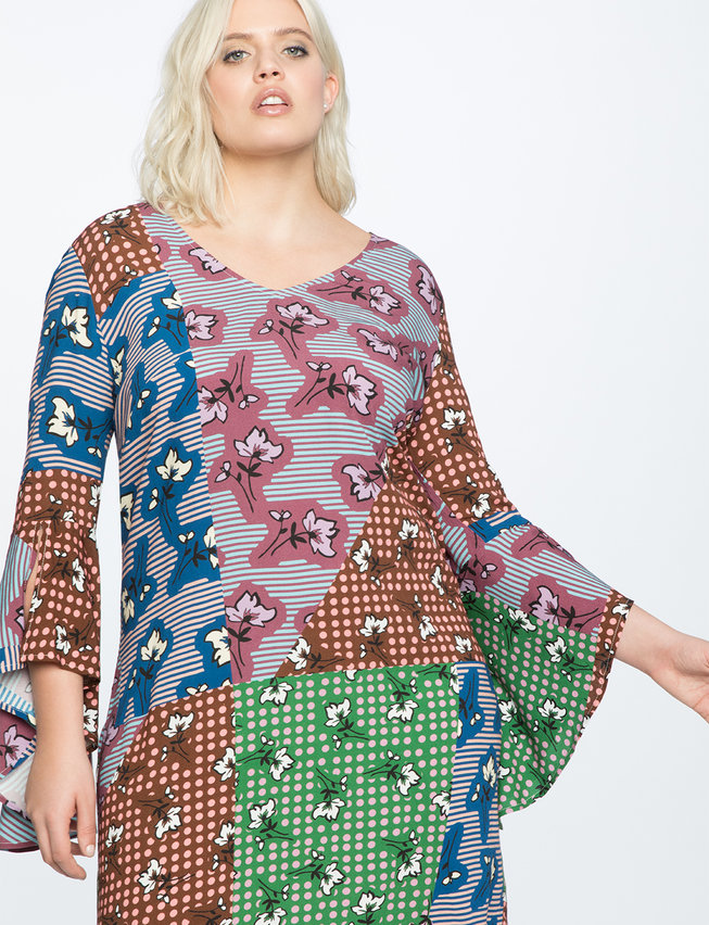 Flare Sleeve Printed Easy Dress