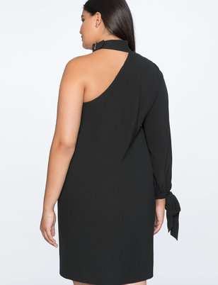 One Shoulder Dress with Buckle Detail