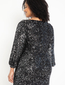 Square Neck Puff Sleeve Sequin Dress Silver and Black