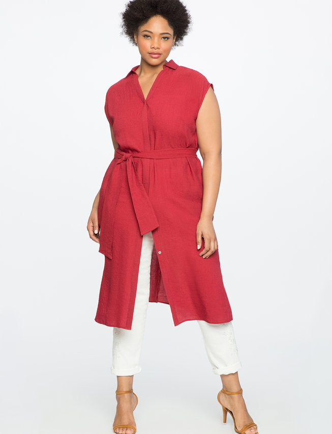 Sleeveless Shirt Dress with Tie | Women\'s Plus Size Dresses | ELOQUII