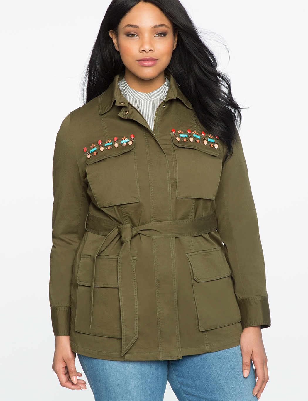 9d8b897ef Embellished Military Jacket | Women's Plus Size Coats + Jackets | ELOQUII