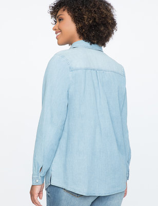 Chambray Top with Pearl Buttons