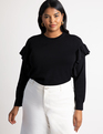 Flutter Sleeve Sweater Totally Black