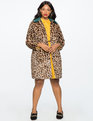 Leopard Coat with Fur Collar Leopard/Forest Green