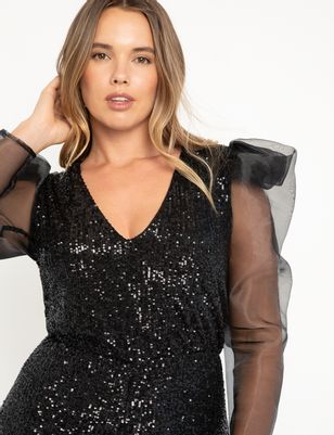Organza Sleeve Sequin Jumpsuit