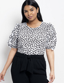 Puff Sleeve Top with Ruffle Dalmation Dot