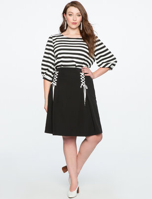 Lace Up Circle Skirt