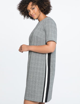 Plaid Shift Dress with Side Stripe