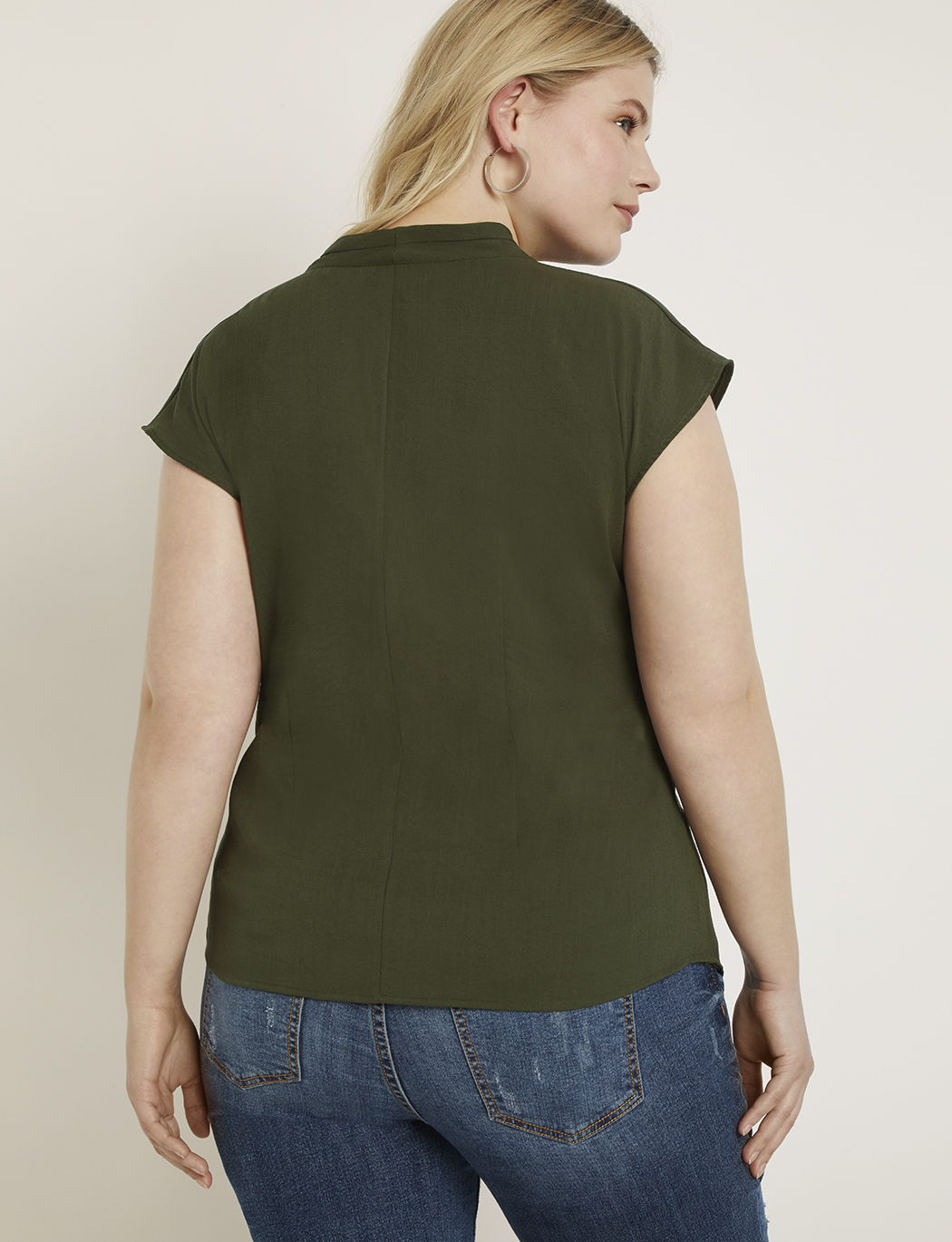 Cap Sleeve Drape Front Top