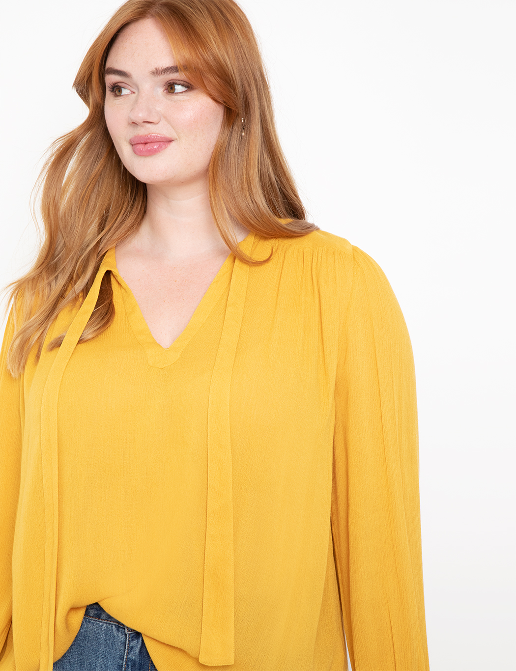 Bow Neck Pleated Top