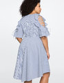Tie Shoulder Ruffle Dress BLUE/WHITE STRIPE