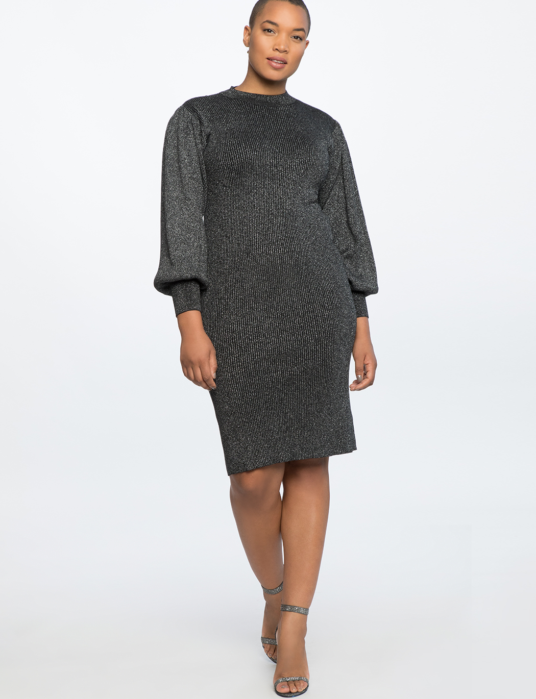 Puff Sleeve Metallic Dress
