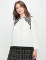 Scalloped Lace Shoulder Blouse White with Black Lace
