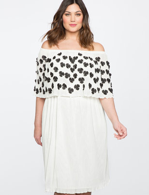 Off the Shoulder Dress with Embellished Overlay