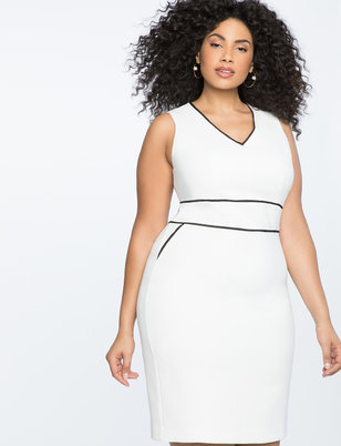 V Neck Sheath Dress with Contrast Piping