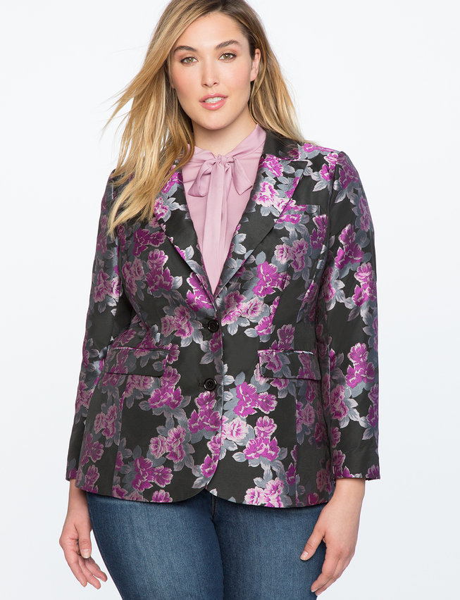 Brocade Two Button Blazer