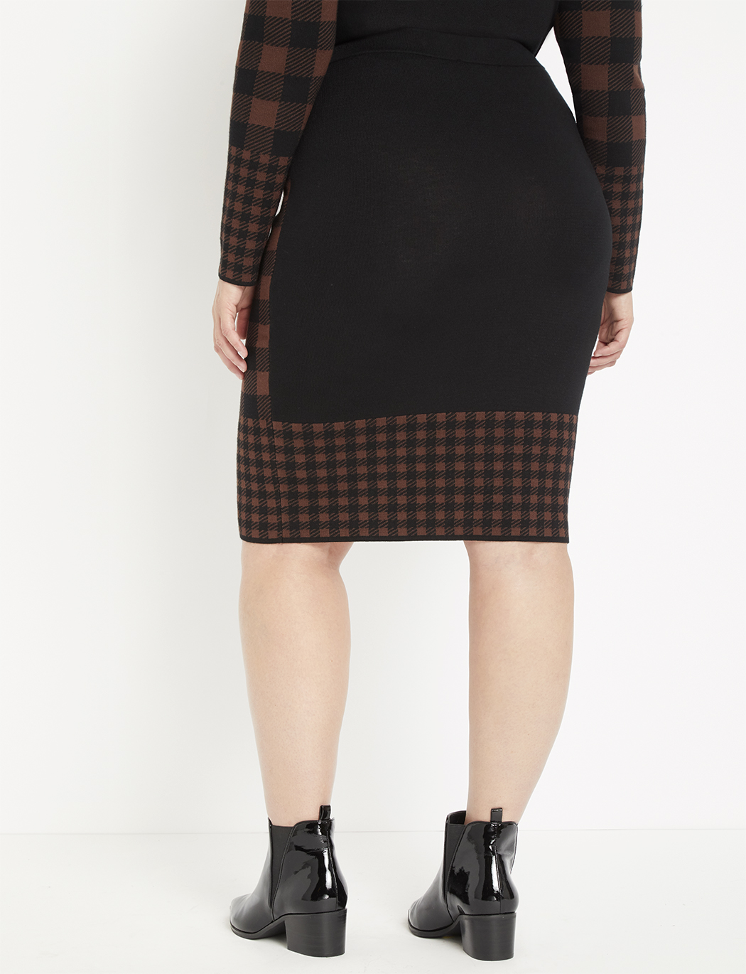 Buffalo Plaid Sweater Column Skirt