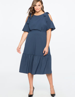 Tie Shoulder Midi Dress