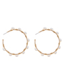 Pearl Wire Wrapped Hoop Earrings Gold