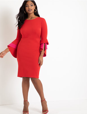 Ruffle Flare Sleeve Dress