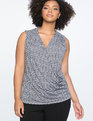 9-to-5 Draped Front Tank 70s Dot