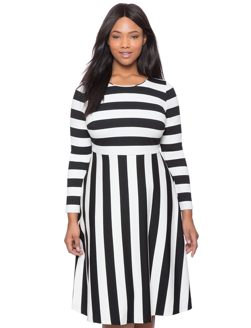 Opposing Stripes Fit and Flare Dress | Women\'s Plus Size Dresses | ELOQUII