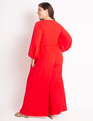 Balloon Sleeve Palazzo Jumpsuit High Risk Red