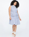 Shirtdress with Pleated Skirt Detail Dress  Blue and White Stripe