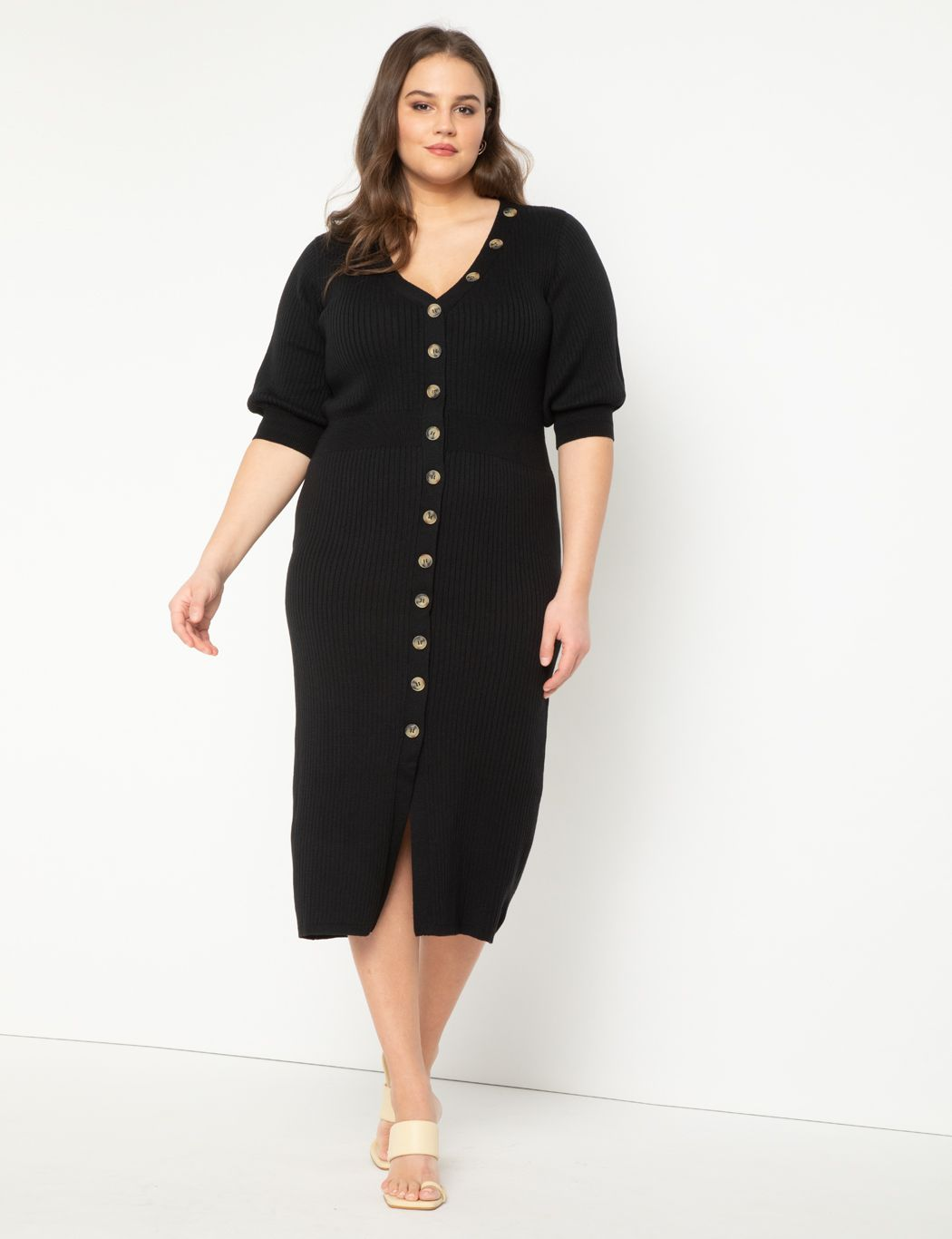 Ribbed Dress with Button Detail