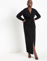 Twist Front Long Sleeve Gown Black