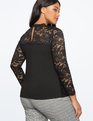 Long Sleeve Lace Detail Blouse Black