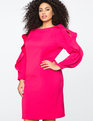 Slit Sleeve Work Dress PINK