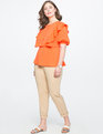 Ruffle Peplum Blouse with Bib Deep Clementine