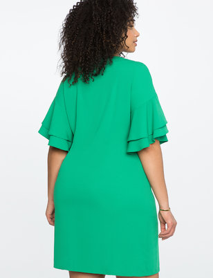 Layered Flutter Sleeve Easy Tee Dress
