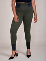 ELOQUII Elements Legging with Faux Leather Detail Olive